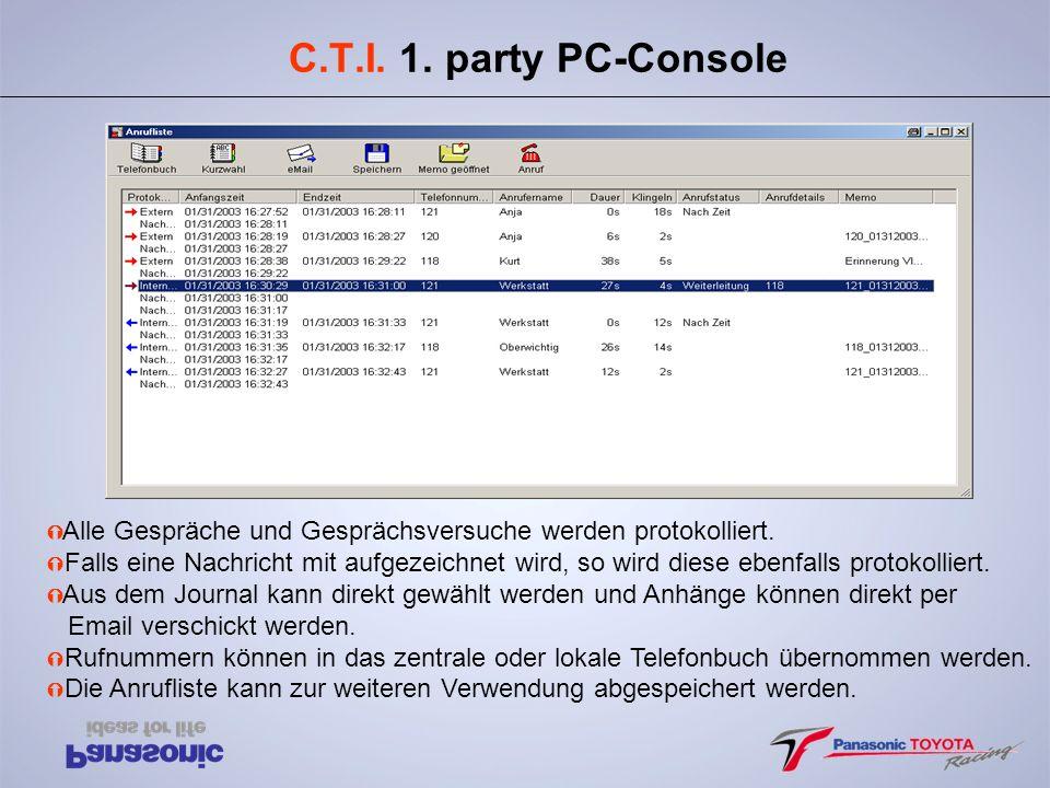 C.T.I. 1. party PC-Console Alle Gespräche und Gesprächsversuche werden protokolliert.