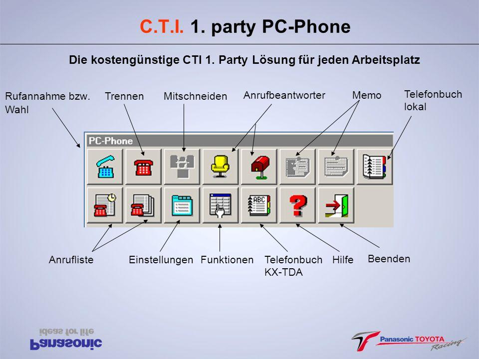 C.T.I. 1. party PC-Phone Die kostengünstige CTI 1. Party Lösung für jeden Arbeitsplatz. Rufannahme bzw.