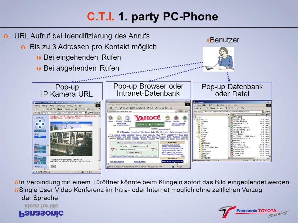 C.T.I. 1. party PC-Phone URL Aufruf bei Idendifizierung des Anrufs