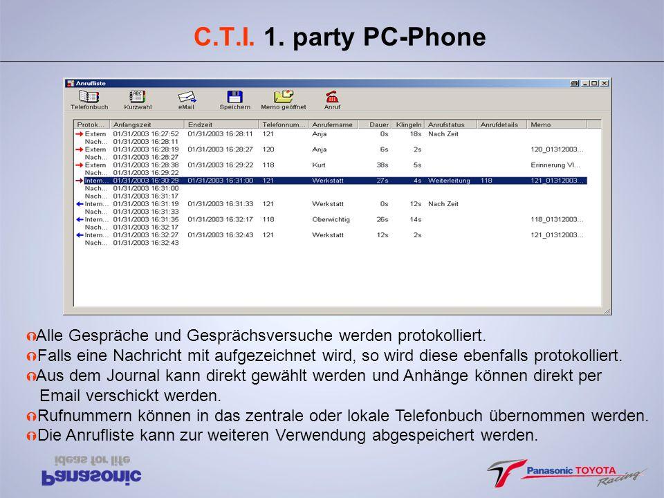 C.T.I. 1. party PC-Phone Alle Gespräche und Gesprächsversuche werden protokolliert.