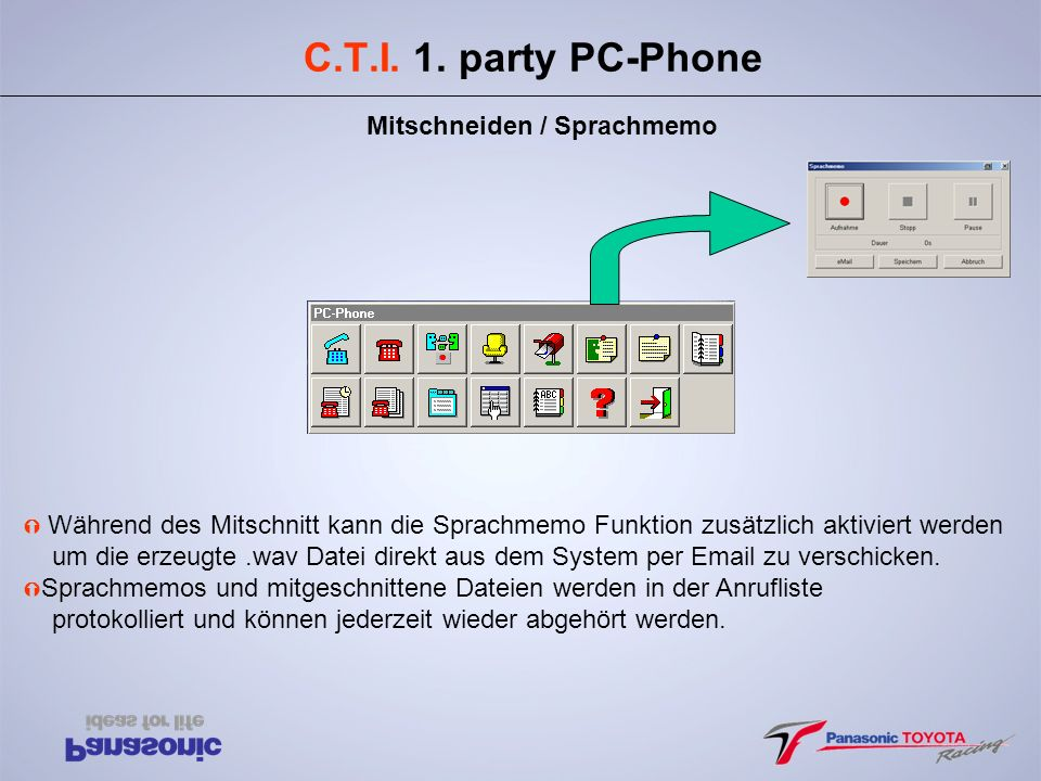 C.T.I. 1. party PC-Phone Mitschneiden / Sprachmemo