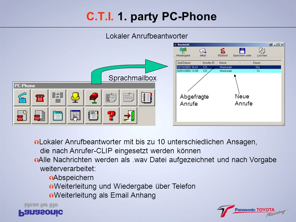 C.T.I. 1. party PC-Phone Lokaler Anrufbeantworter Sprachmailbox