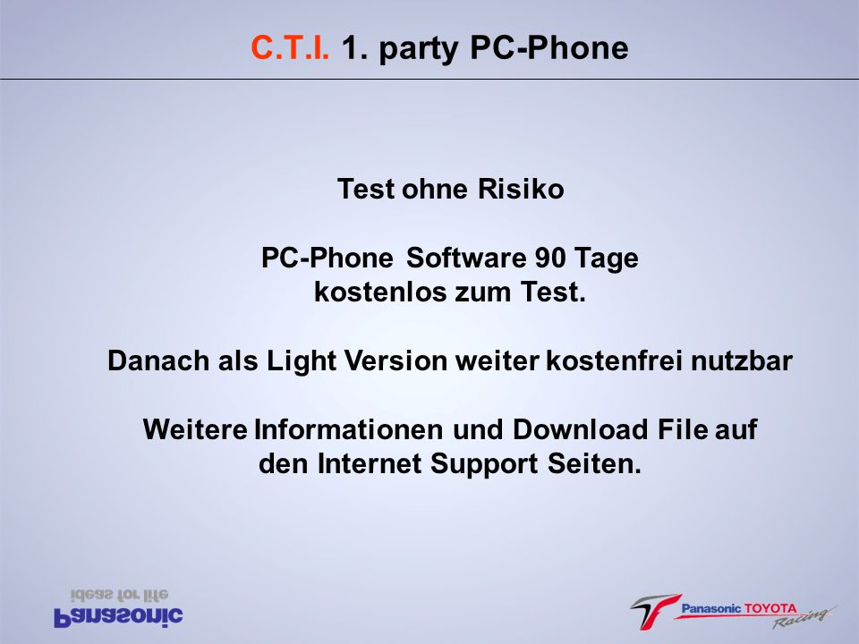 C.T.I. 1. party PC-Phone Test ohne Risiko PC-Phone Software 90 Tage