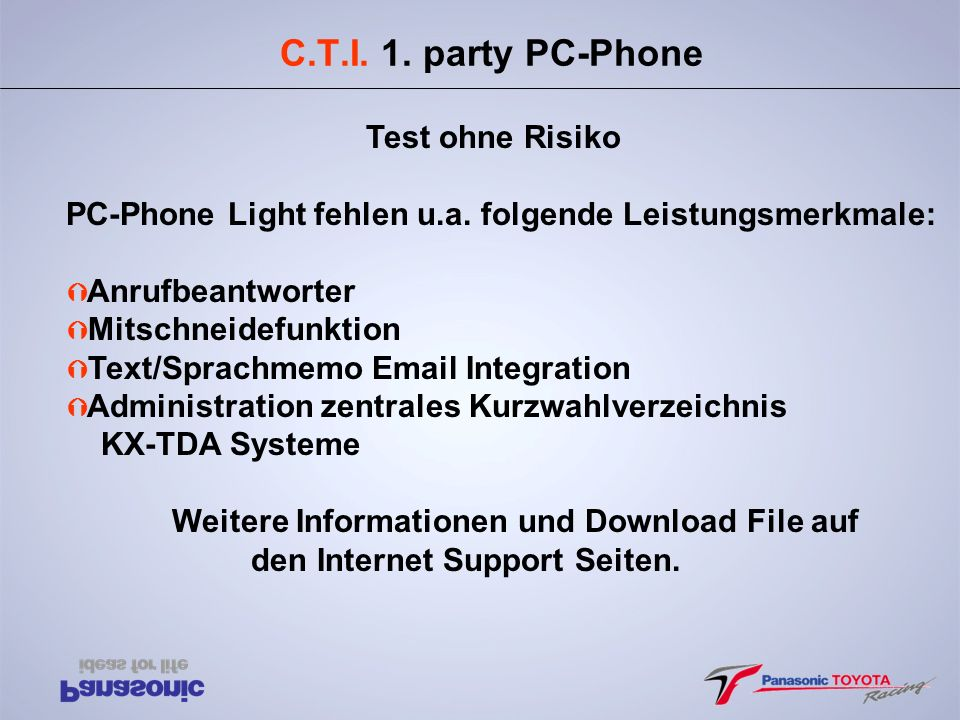 C.T.I. 1. party PC-Phone Test ohne Risiko