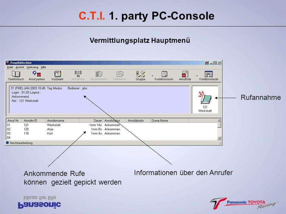C.T.I. 1. party PC-Console Vermittlungsplatz Hauptmenü Rufannahme