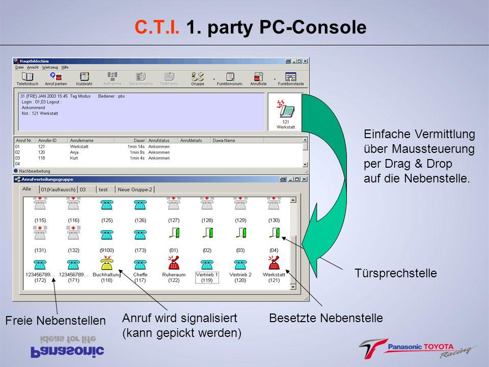 C.T.I. 1. party PC-Console Einfache Vermittlung über Maussteuerung