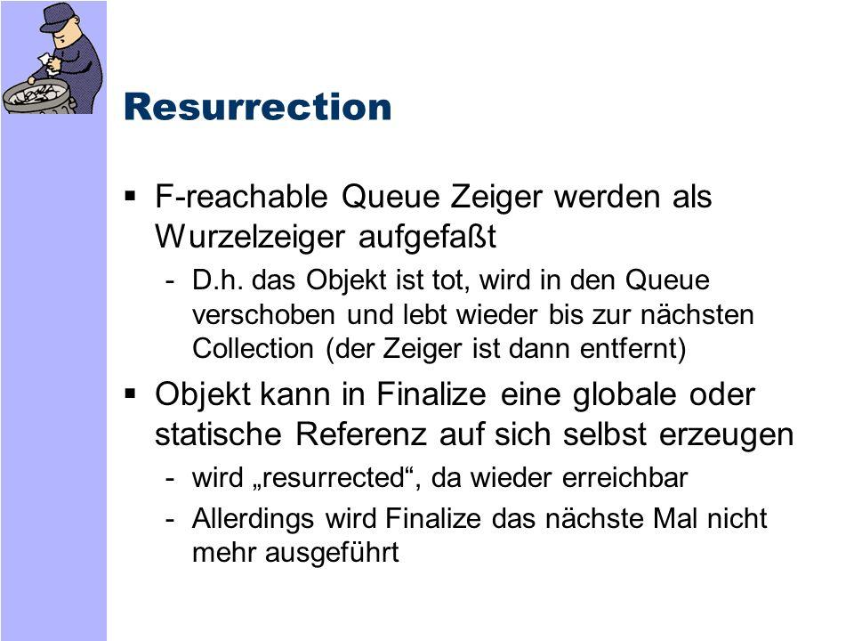 Resurrection F-reachable Queue Zeiger werden als Wurzelzeiger aufgefaßt.