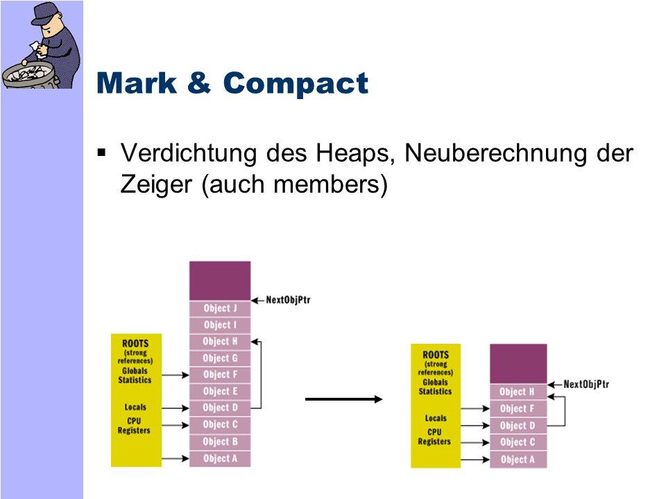Mark & Compact Verdichtung des Heaps, Neuberechnung der Zeiger (auch members)