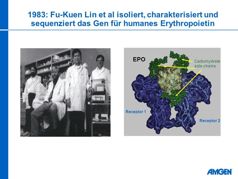 1983: Fu-Kuen Lin et al isoliert, charakterisiert und sequenziert das Gen für humanes Erythropoietin