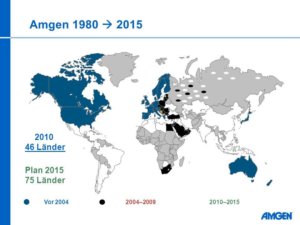 Amgen 1980  2015 2010 46 Länder Plan 2015 75 Länder Vor 2004