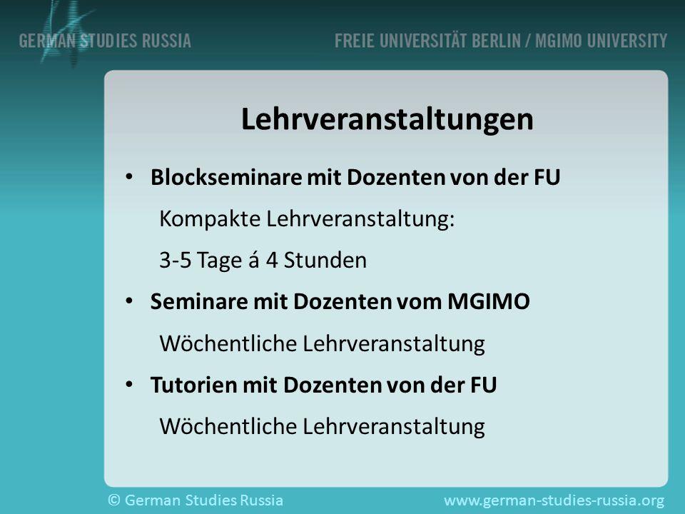 Lehrveranstaltungen Blockseminare mit Dozenten von der FU