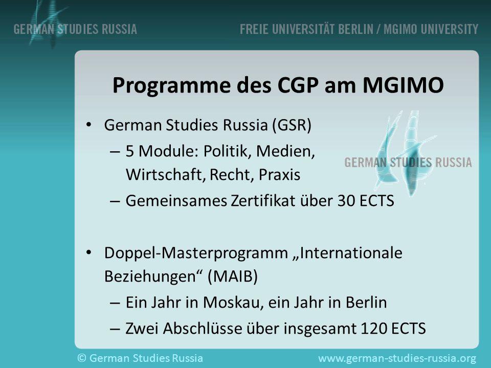 Programme des CGP am MGIMO
