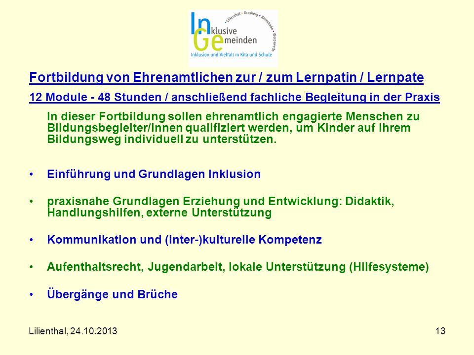 Fortbildung von Ehrenamtlichen zur / zum Lernpatin / Lernpate