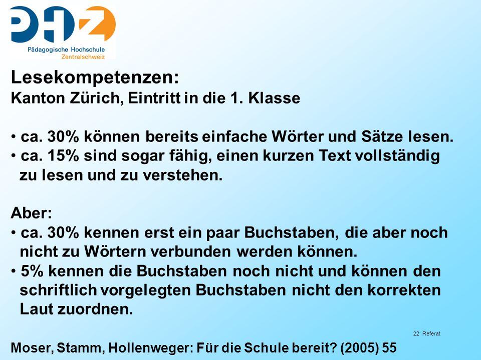 Lesekompetenzen: Kanton Zürich, Eintritt in die 1. Klasse