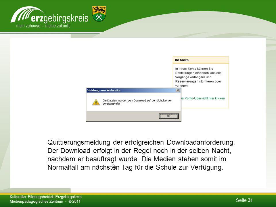 Quittierungsmeldung der erfolgreichen Downloadanforderung