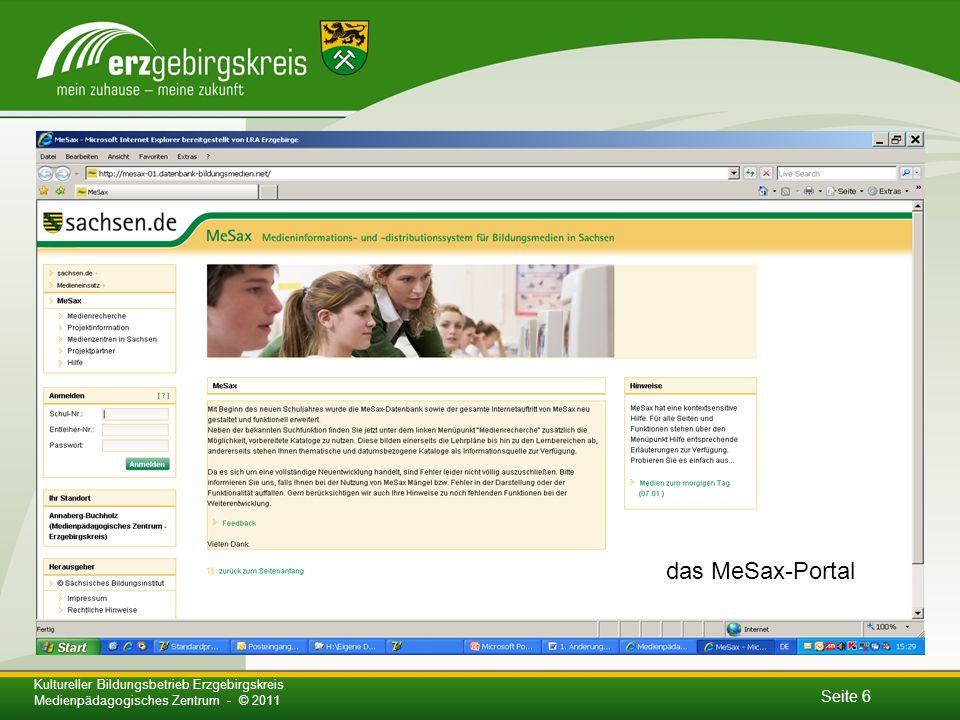 das MeSax-Portal Kultureller Bildungsbetrieb Erzgebirgskreis