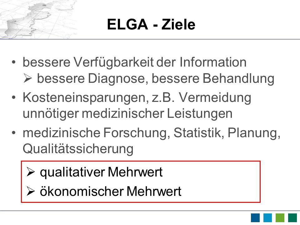 ELGA - Ziele bessere Verfügbarkeit der Information  bessere Diagnose, bessere Behandlung.