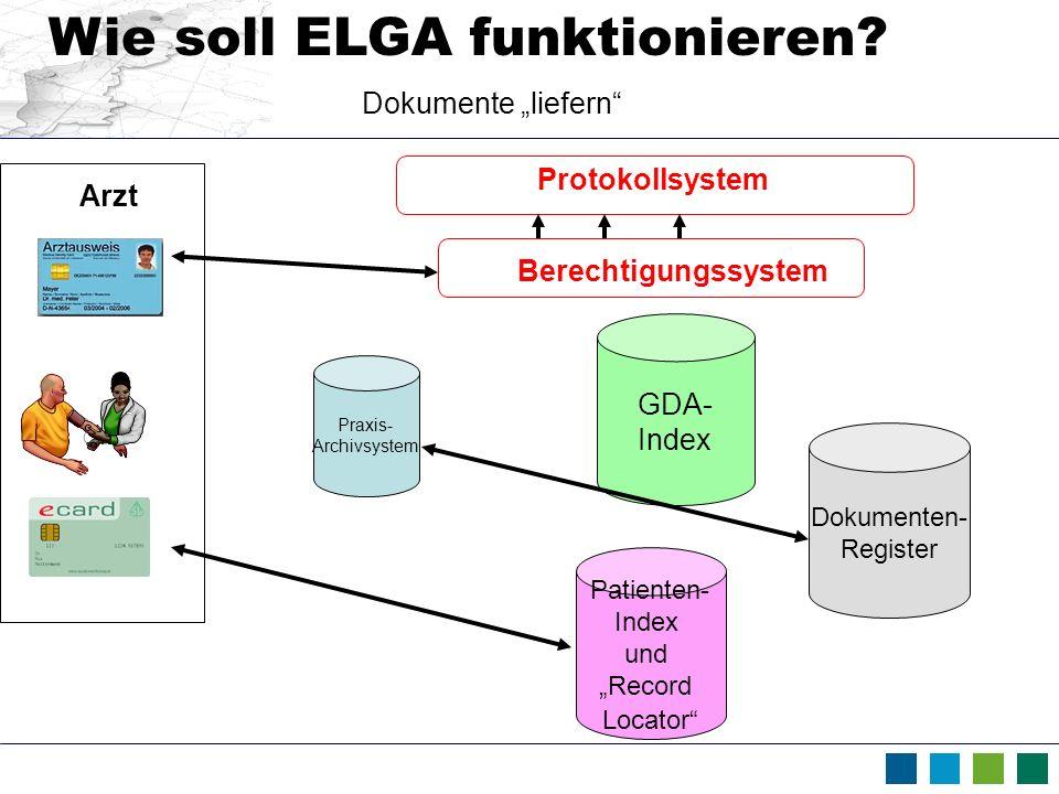 " Wie soll ELGA funktionieren Dokumente ""liefern Protokollsystem"
