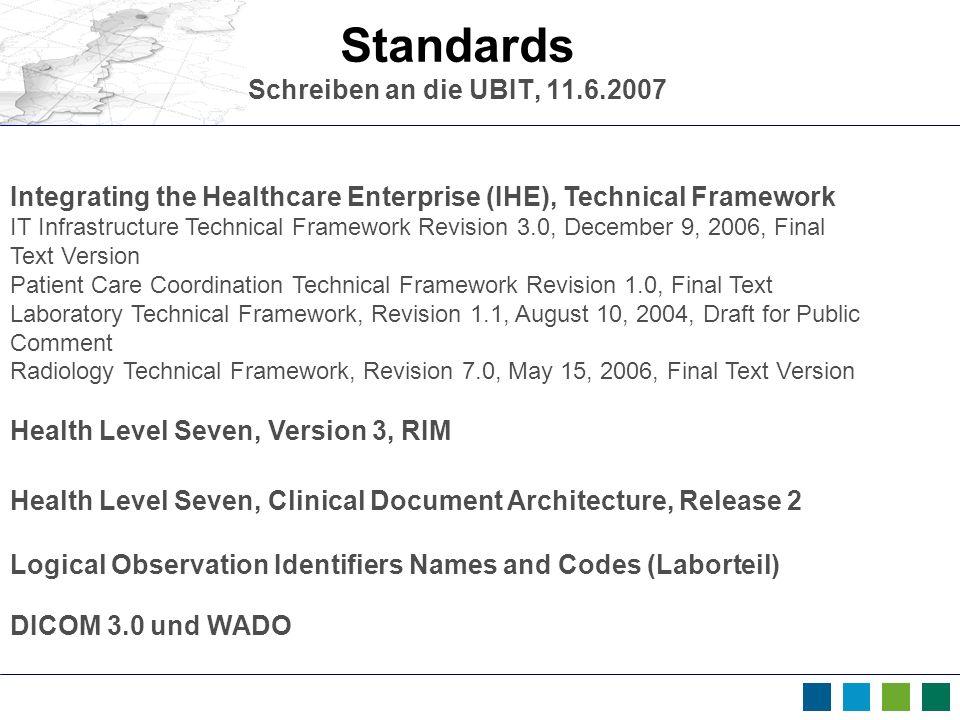 Standards Schreiben an die UBIT, 11.6.2007