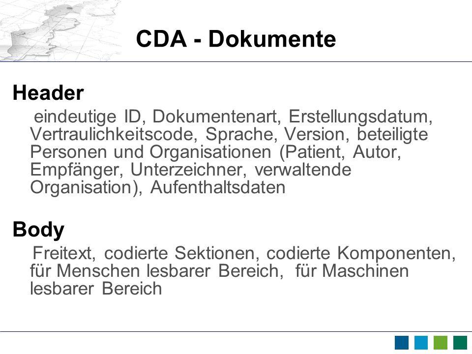 CDA - Dokumente Header Body