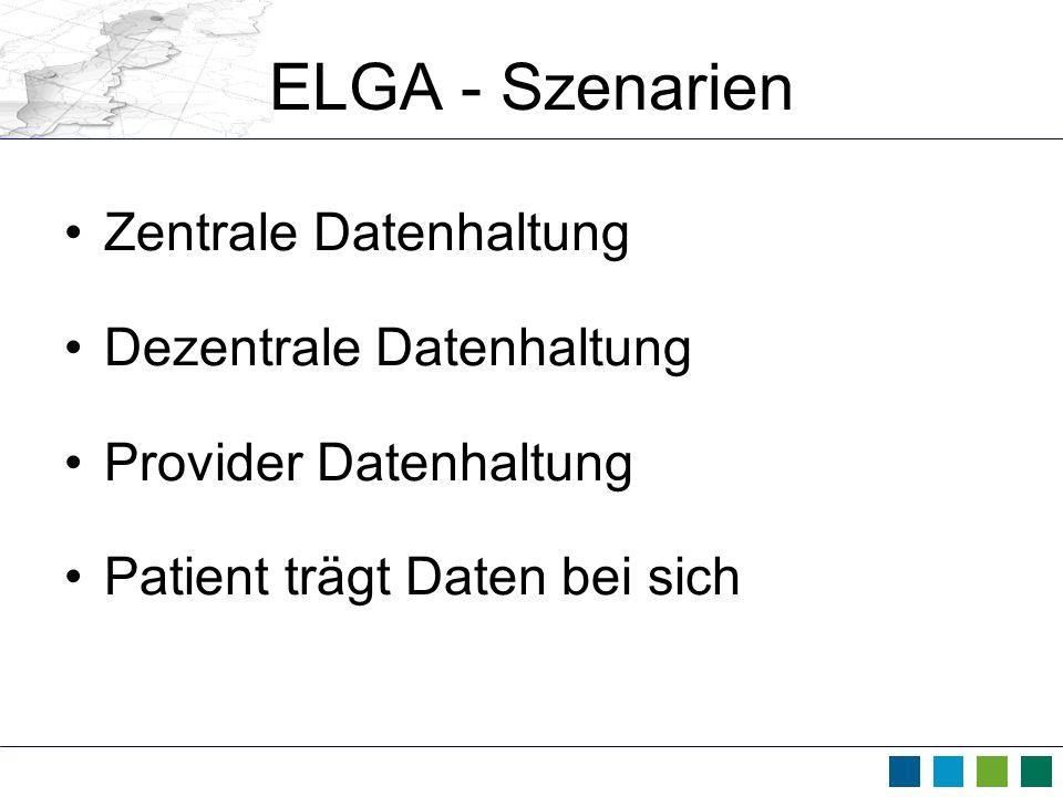 ELGA - Szenarien Zentrale Datenhaltung Dezentrale Datenhaltung