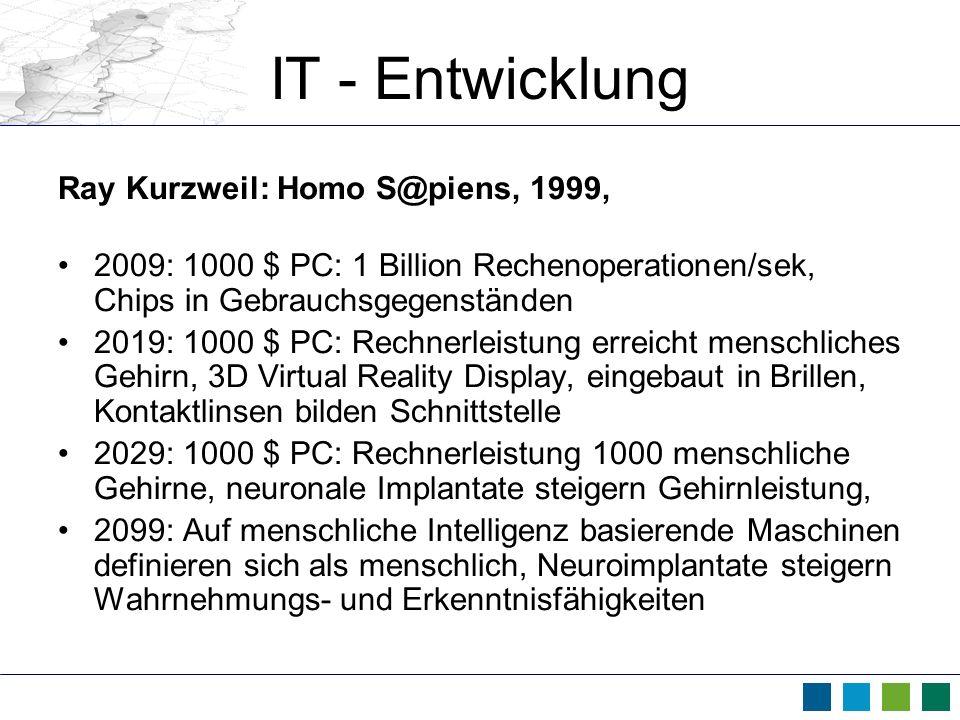 IT - Entwicklung Ray Kurzweil: Homo S@piens, 1999,