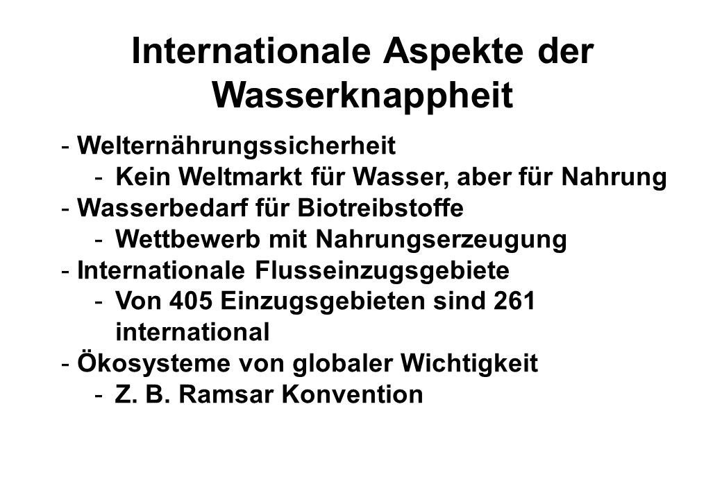 Internationale Aspekte der Wasserknappheit
