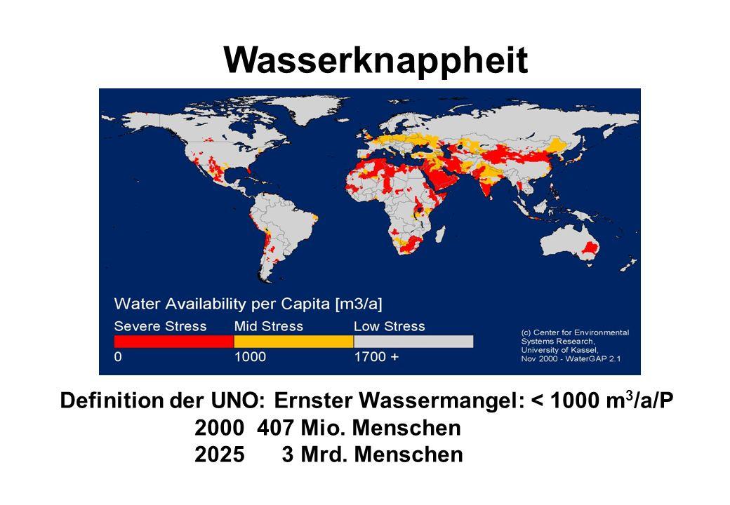 Wasserknappheit Definition der UNO: Ernster Wassermangel: < 1000 m3/a/P.