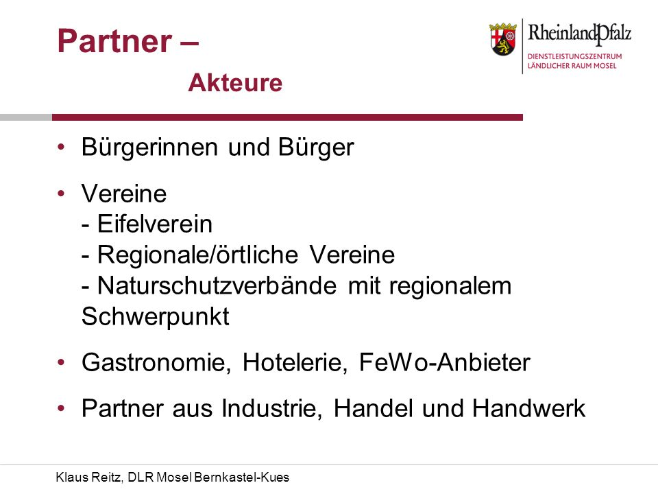 Partner – Akteure Bürgerinnen und Bürger