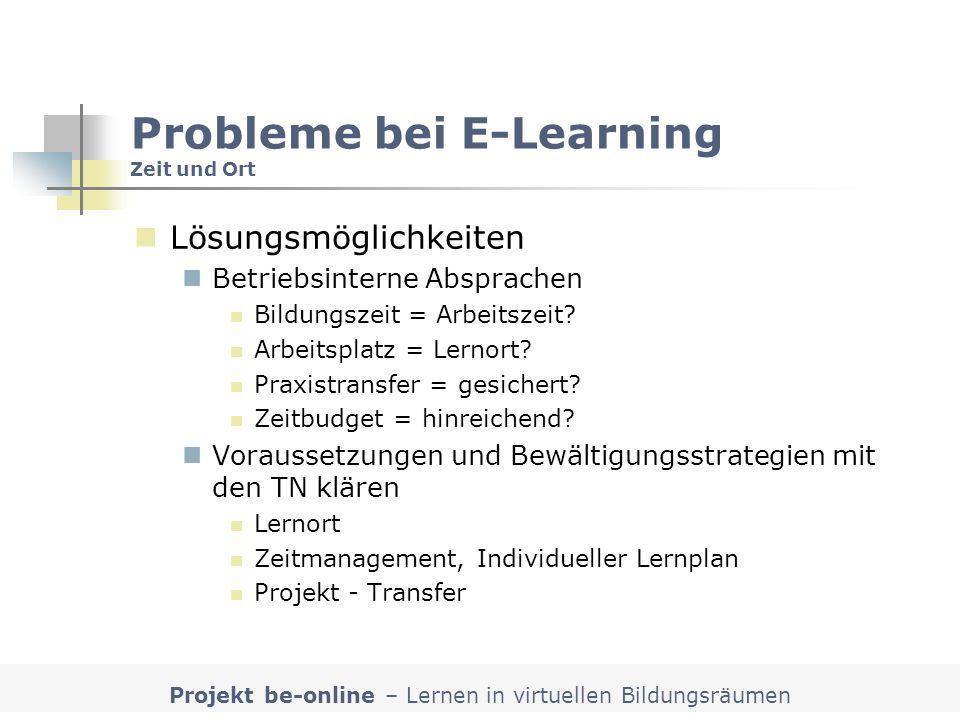 Probleme bei E-Learning Zeit und Ort