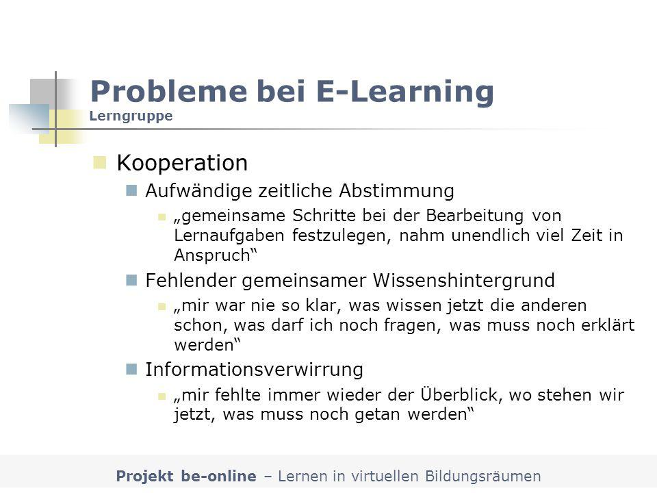 Probleme bei E-Learning Lerngruppe