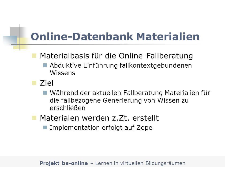 Online-Datenbank Materialien
