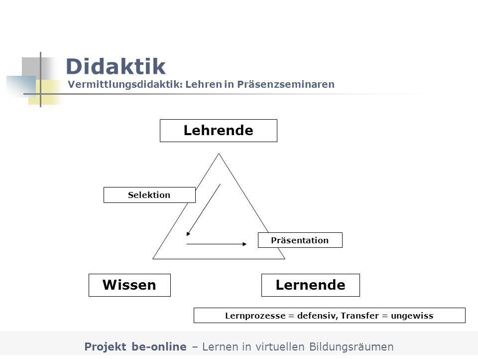 Didaktik Vermittlungsdidaktik: Lehren in Präsenzseminaren