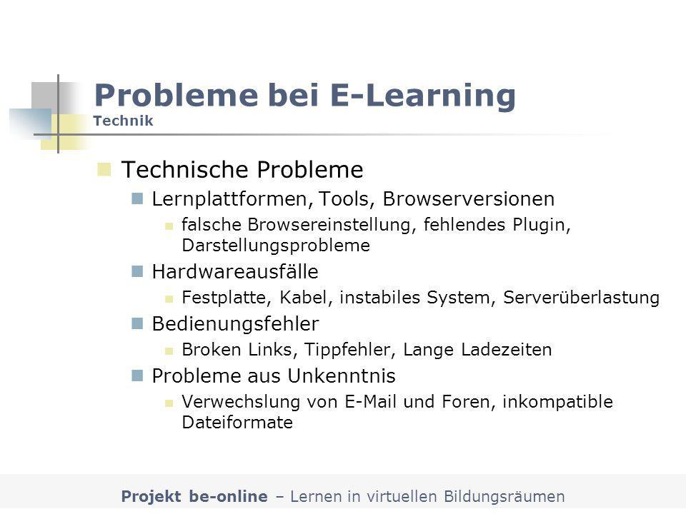 Probleme bei E-Learning Technik