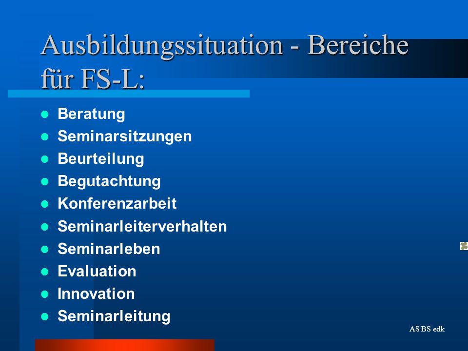 Ausbildungssituation - Bereiche für FS-L: