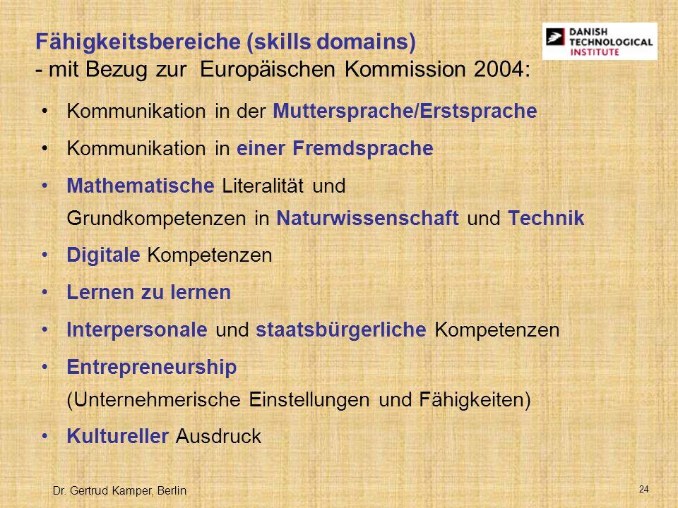 Fähigkeitsbereiche (skills domains) - mit Bezug zur Europäischen Kommission 2004: