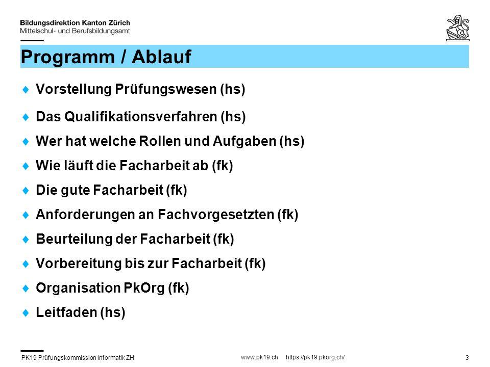 Programm / Ablauf Vorstellung Prüfungswesen (hs)