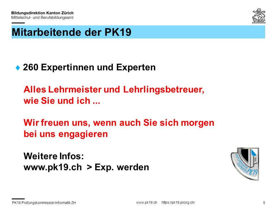 Mitarbeitende der PK19 260 Expertinnen und Experten