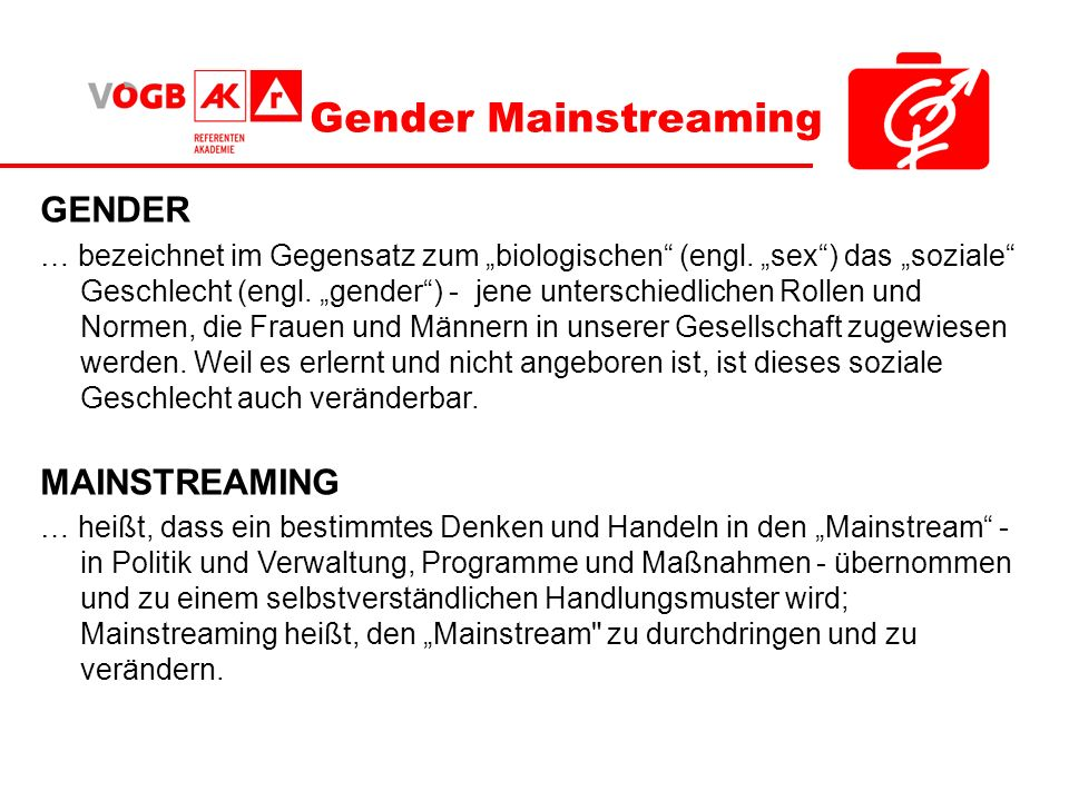 Gender Mainstreaming GENDER MAINSTREAMING