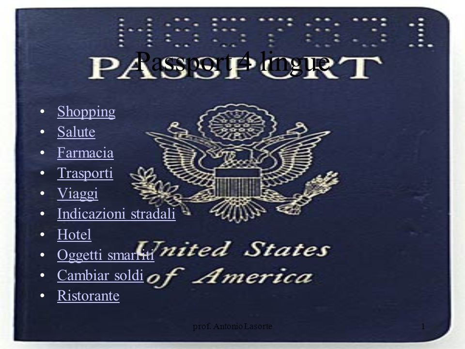 Passport 4 lingue Shopping Salute Farmacia Trasporti Viaggi