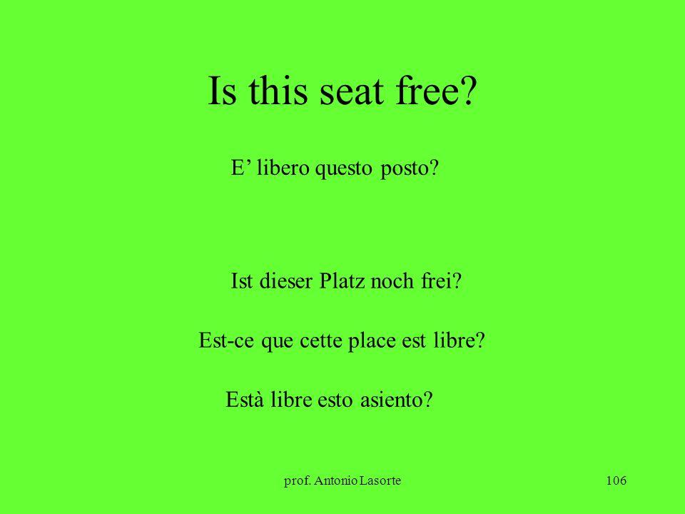 Is this seat free E' libero questo posto Ist dieser Platz noch frei