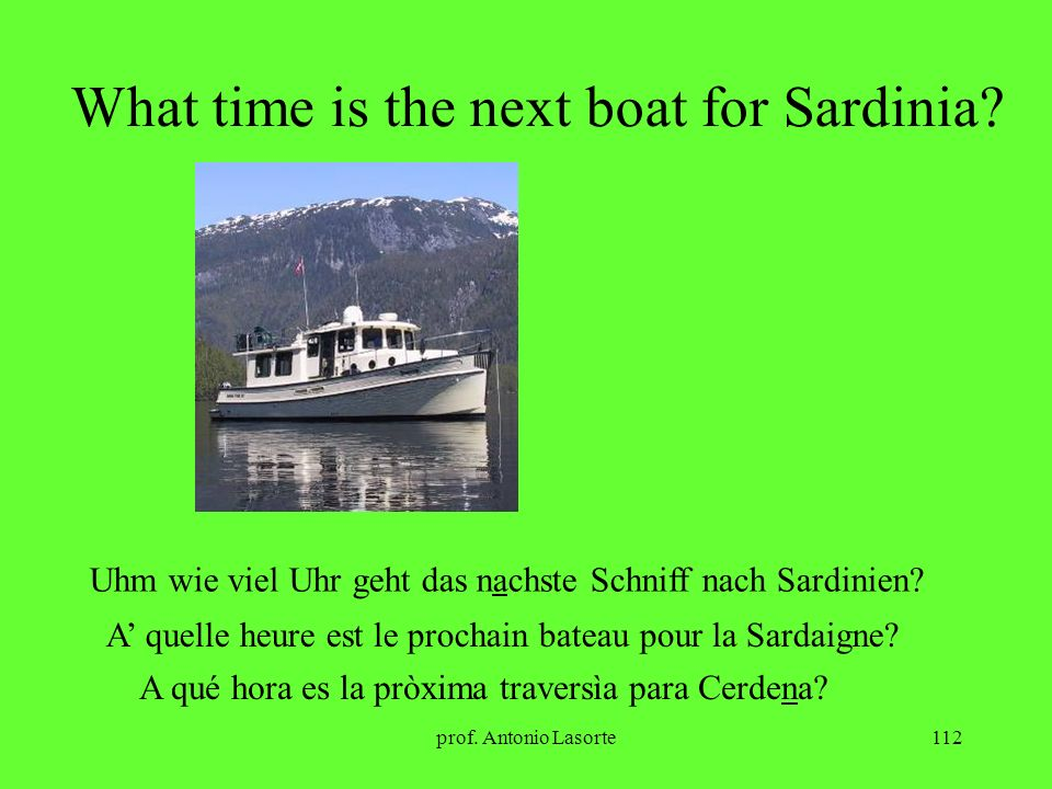 What time is the next boat for Sardinia