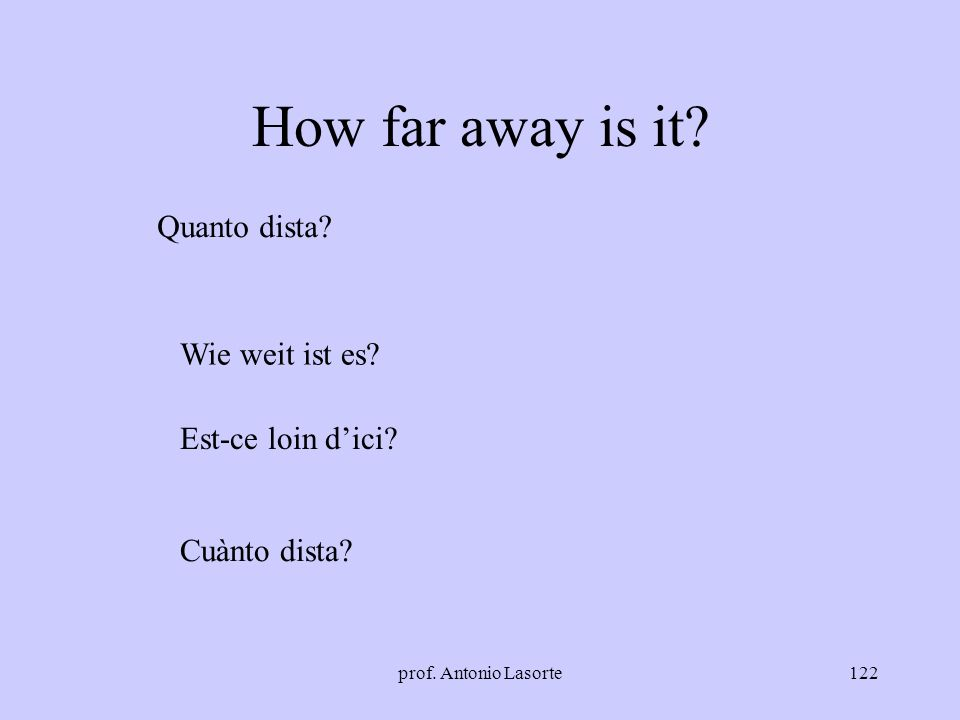 How far away is it Quanto dista Wie weit ist es Est-ce loin d'ici
