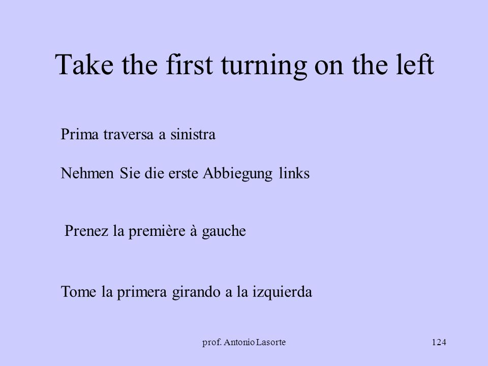 Take the first turning on the left