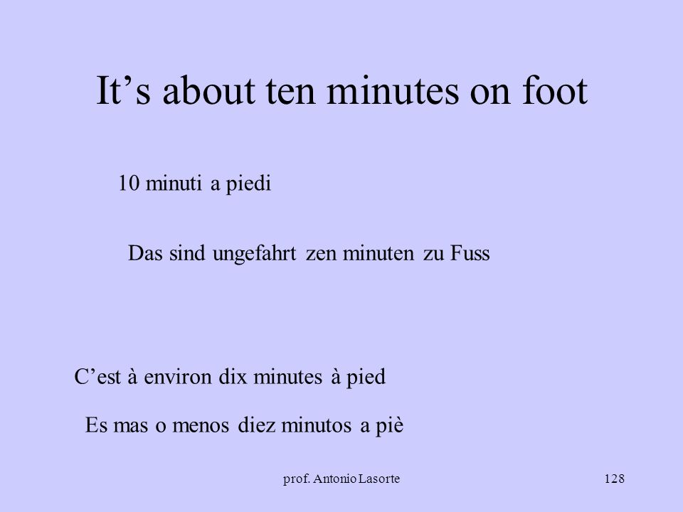 It's about ten minutes on foot