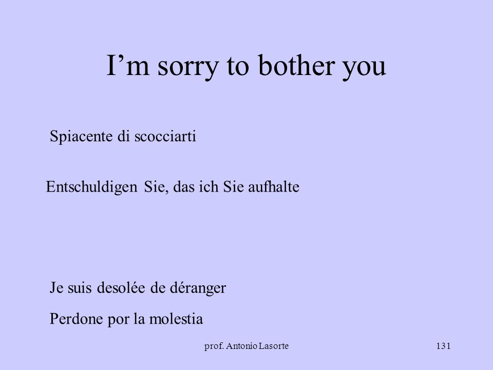 I'm sorry to bother you Spiacente di scocciarti