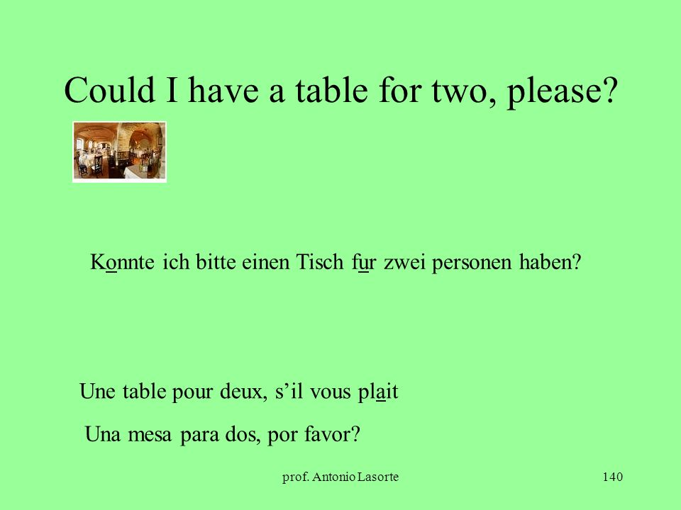 Could I have a table for two, please