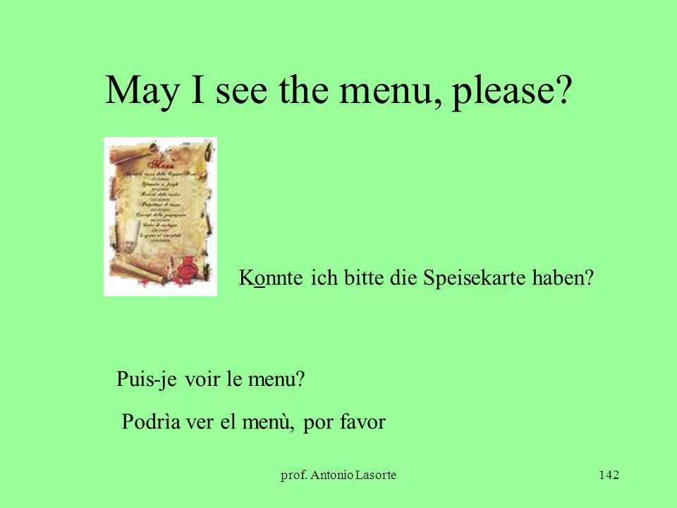 May I see the menu, please