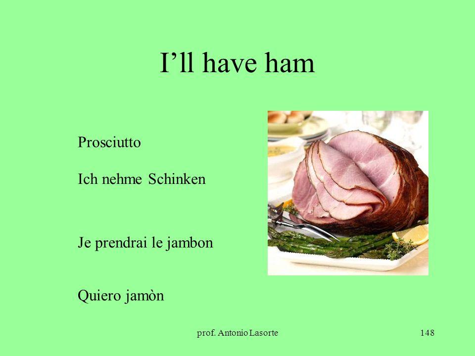 I'll have ham Prosciutto Ich nehme Schinken Je prendrai le jambon