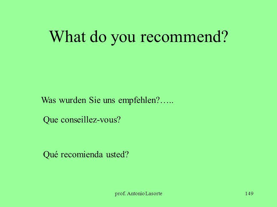 What do you recommend Was wurden Sie uns empfehlen …..